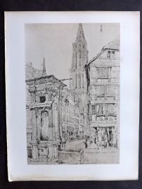 After Samuel Prout 1880 Antique Print. Strasburg, France Germany